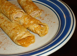 Peanut Butter Crepes with Cinnamon Cream Cheese Filling