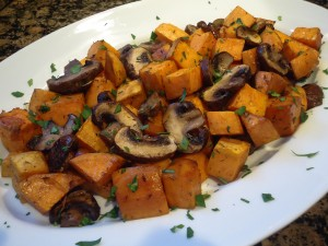 Roasted Sweet Potatoes and Mushrooms