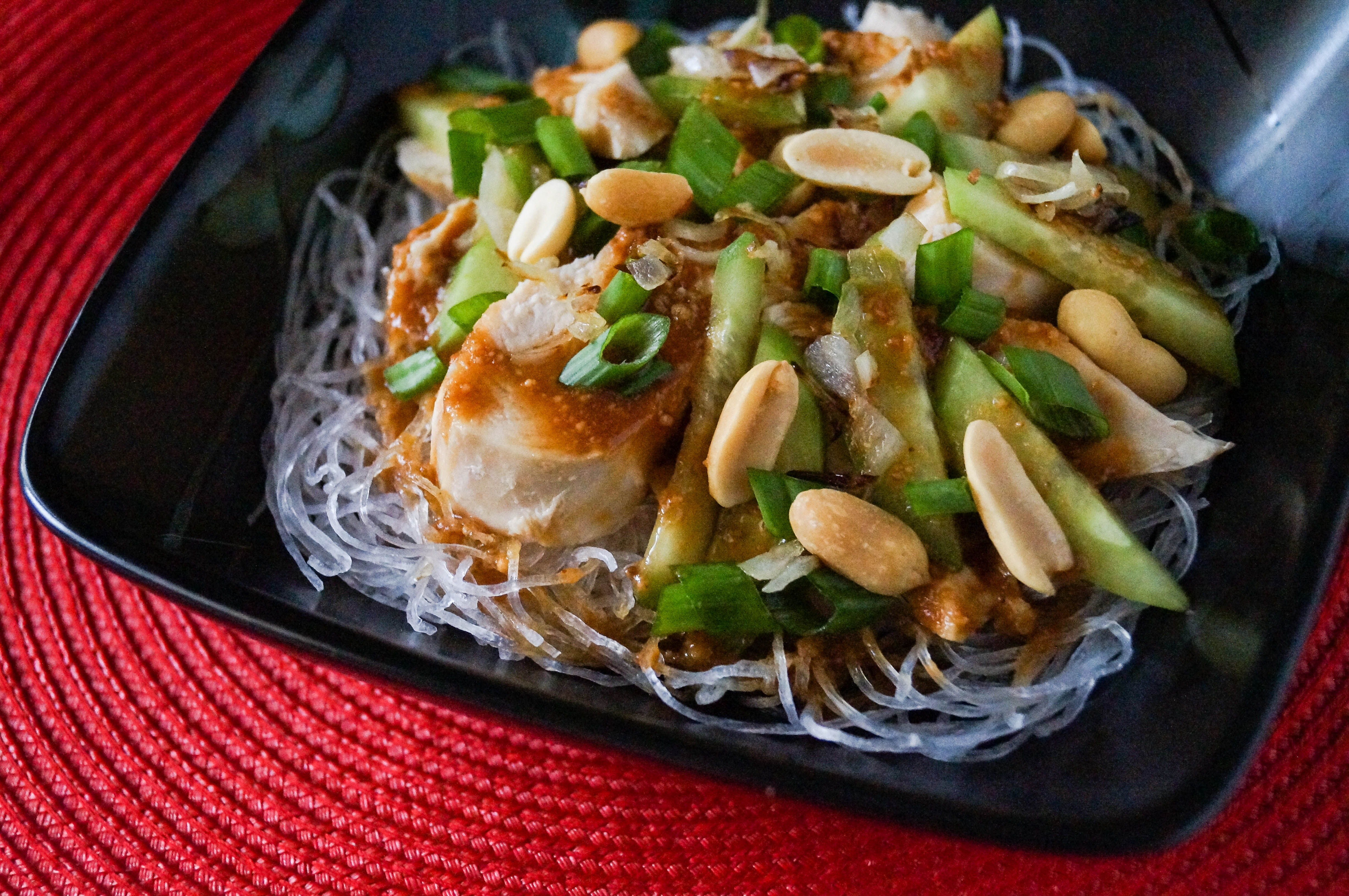 Peanut Chicken over Glass Noodles