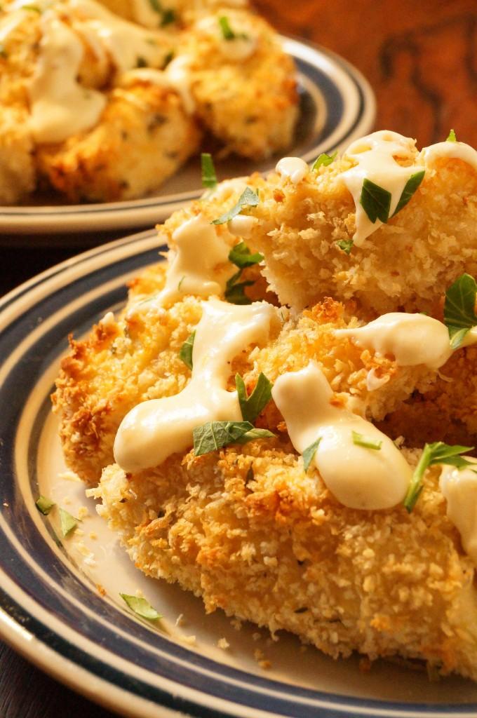 Parmesan Chicken Bites with Garlic Cheese Sauce