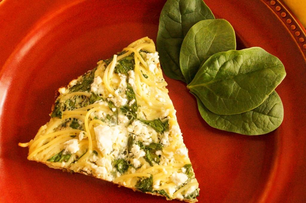 spinach and lemon spaghetti frittata