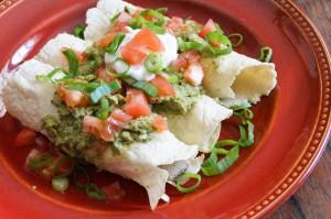 Enchiladas de Puerco con Salsa de Chile Poblano (Pork Enchiladas with Creamy Poblano Sauce)