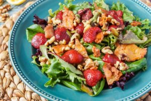 Roasted Strawberry Saganaki Salad