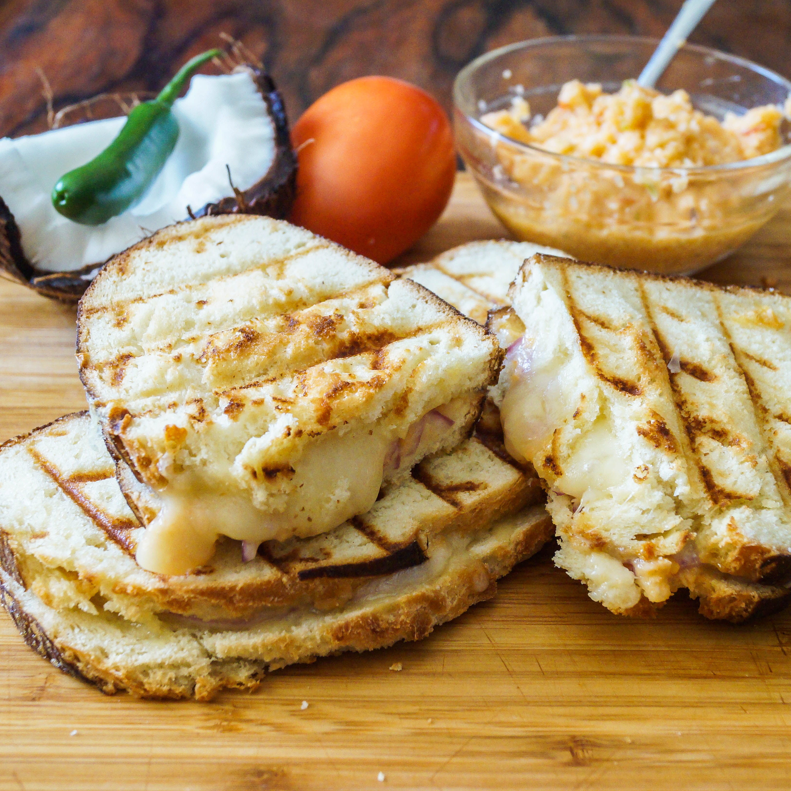 Grilled Cheese with Tomato Coconut Chutney