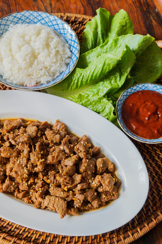 Bulgogi Ssam (Korean Marinated Beef Lettuce Wraps)