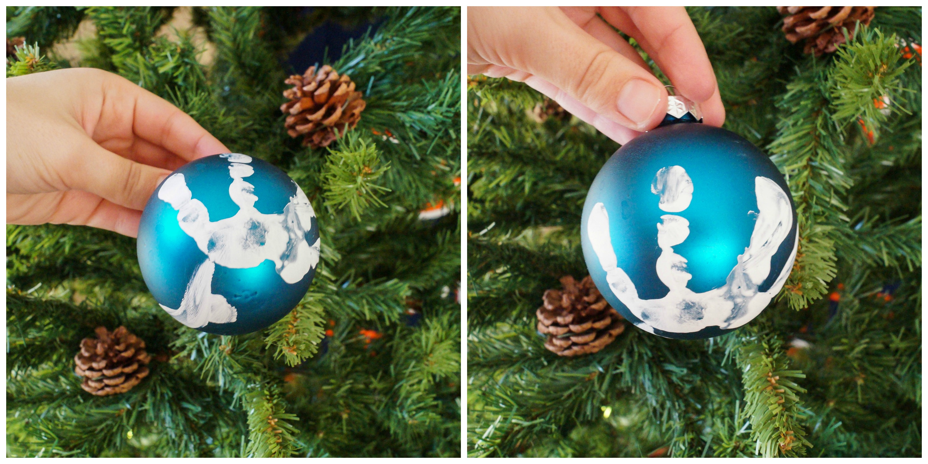 I bought blue round ornaments from Walmart. I put a thin layer of acrylic paint on a paper plate and had Evan ... & Christmas Gift Ideas - Tara\u0027s Multicultural Table