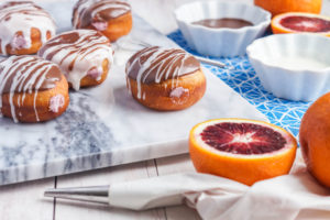 Blood Orange Cream Cheese Filled Doughnuts