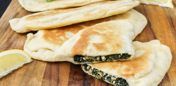 Spinach, Mint and Pine Nut Gözleme (Turkish Savory Pastry)