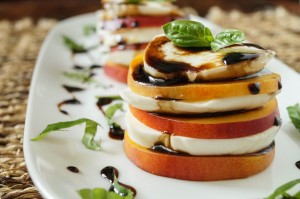 Nectarine Caprese with Honey Balsamic Reduction