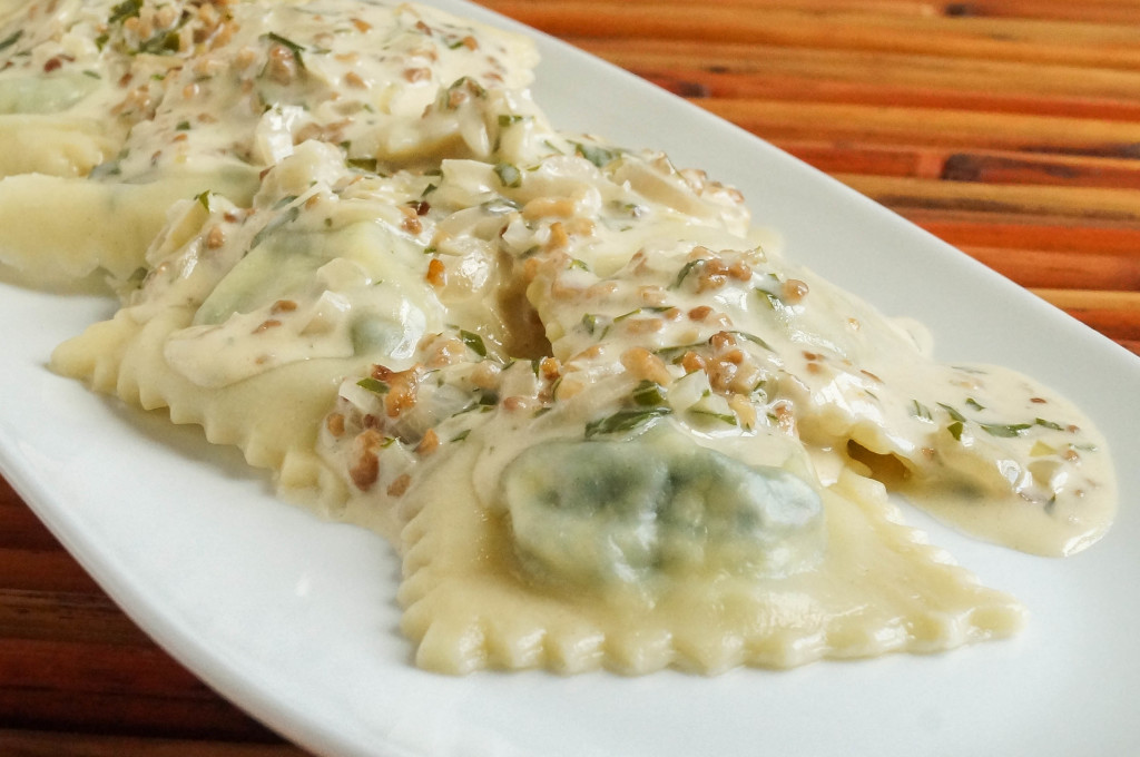 Spinach and Ricotta Ravioli with a Walnut Cream Sauce