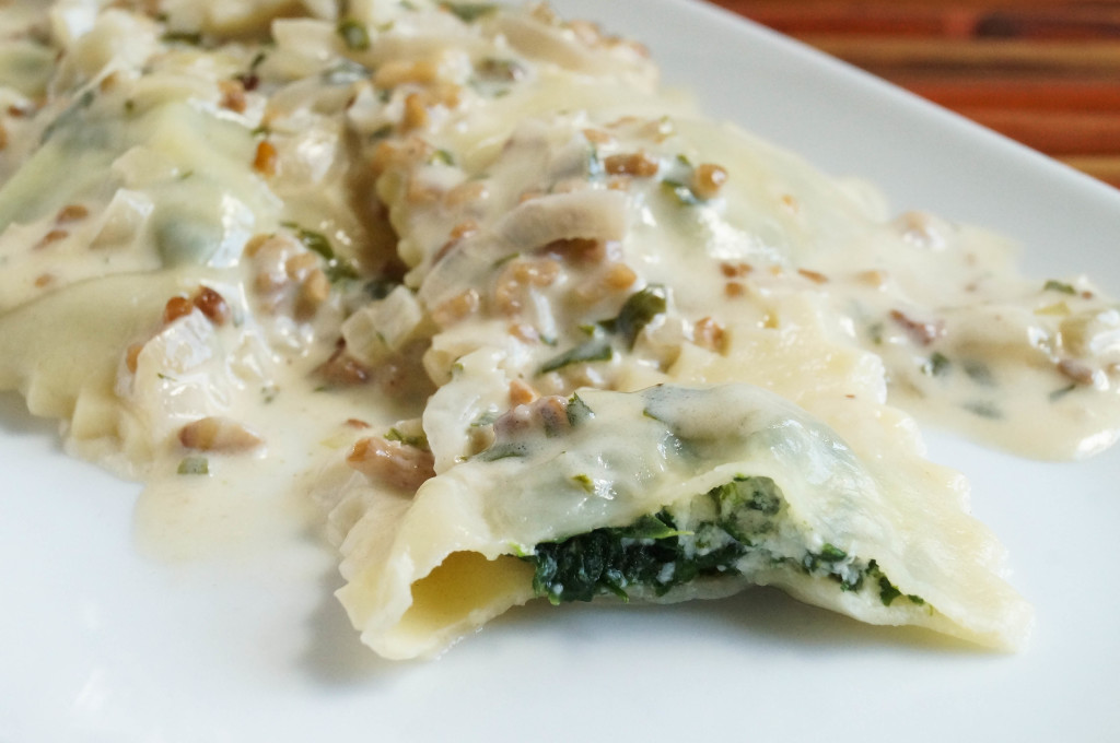 spinach and ricotta ravioli with a walnut cream sauce ravioli
