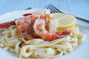Lemon Garlic Linguine with Mascarpone and Shrimp