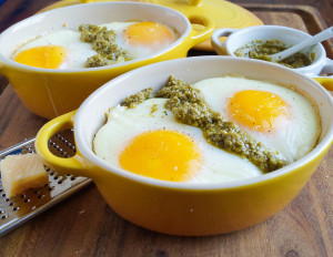 Shirred Eggs with Pesto, Pasta, and Chèvre