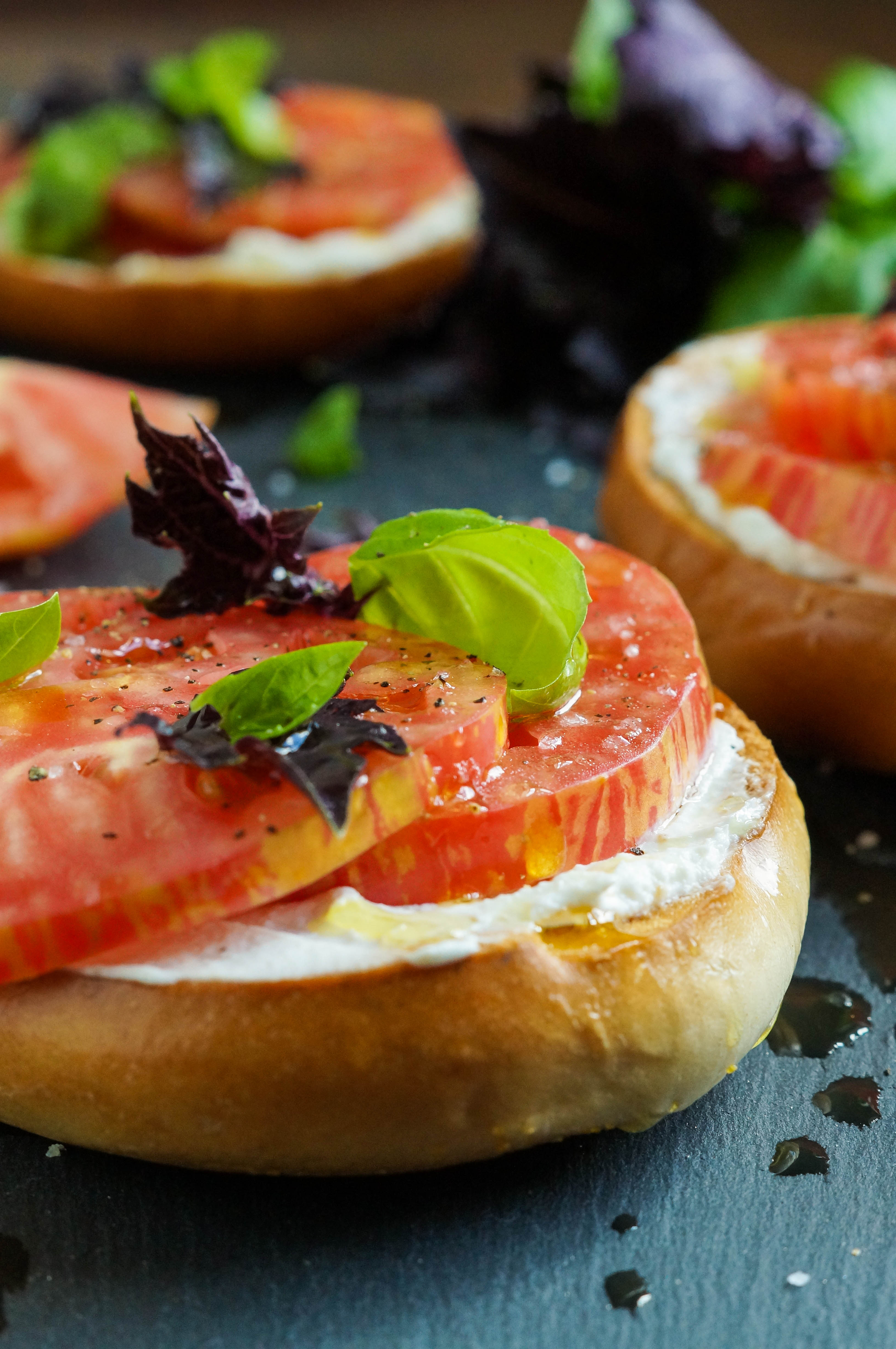 Crisp Toasted Bagel with Fromage Blanc, Tomato, Seas Salt, and Basil (2 of 3)