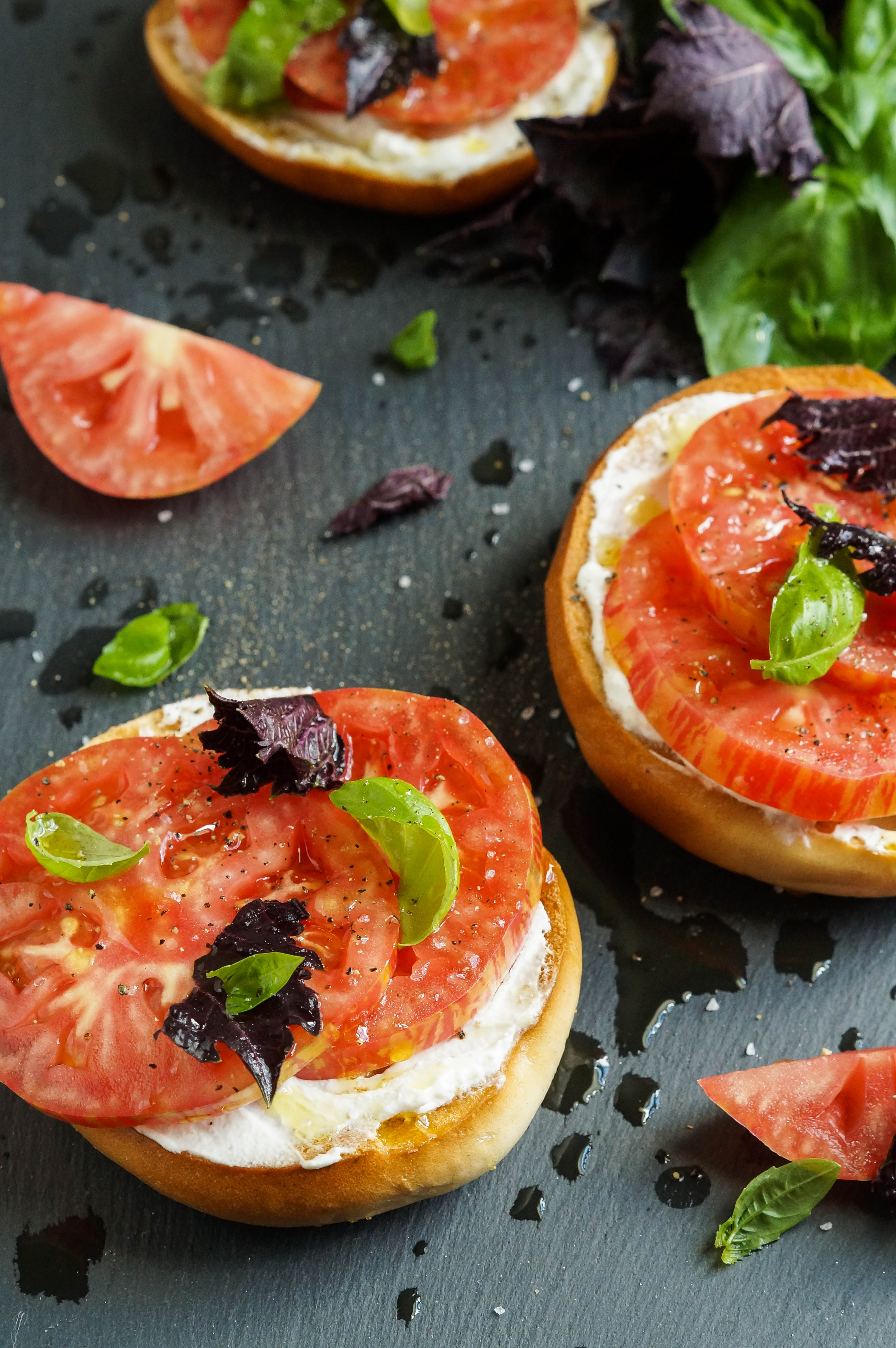 Crisp Toasted Bagel with Fromage Blanc, Tomato, Seas Salt, and Basil (3 of 3)