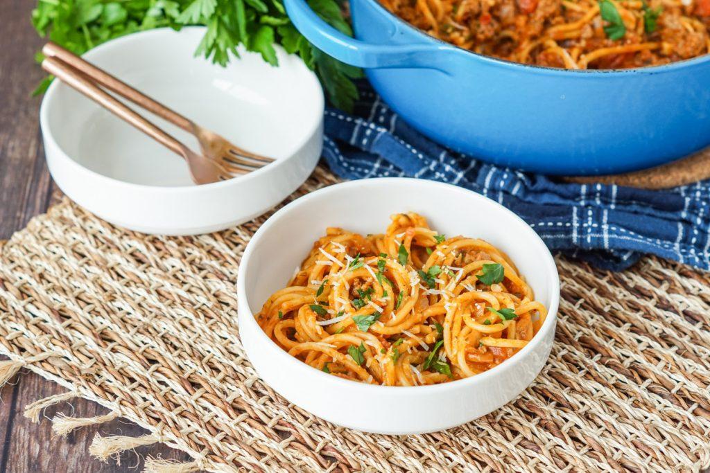 One Pot Spaghetti in a bowl