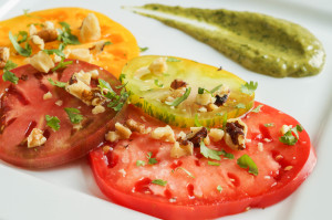 Tomato Salad with Avocado Cilantro Vinaigrette