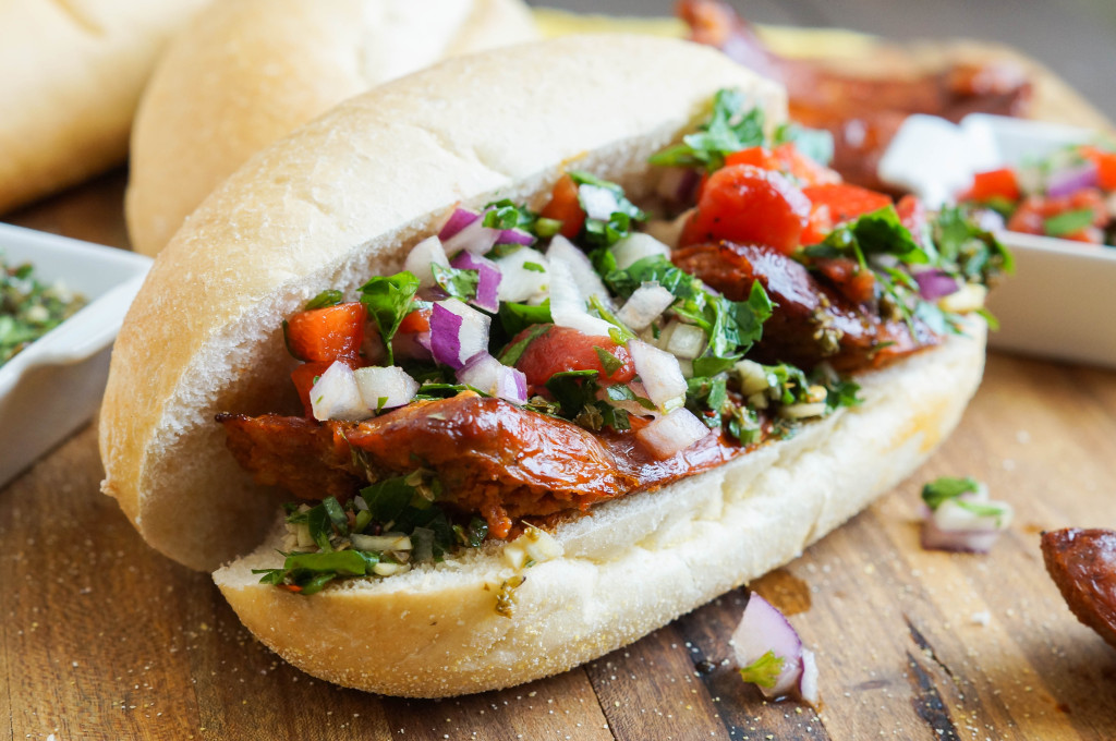 Choripán (Argentinian Chorizo, Chimichurri, and Salsa Sandwich) (2 of 3)