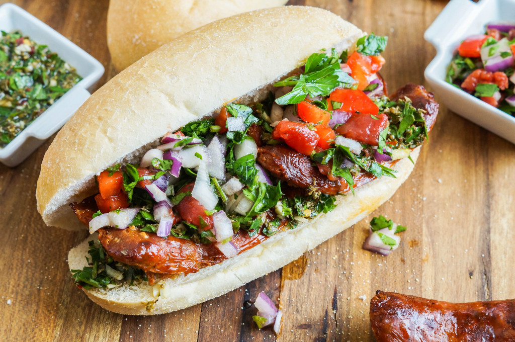 Choripán (Argentinian Chorizo, Chimichurri, and Salsa Sandwich) (3 of 3)