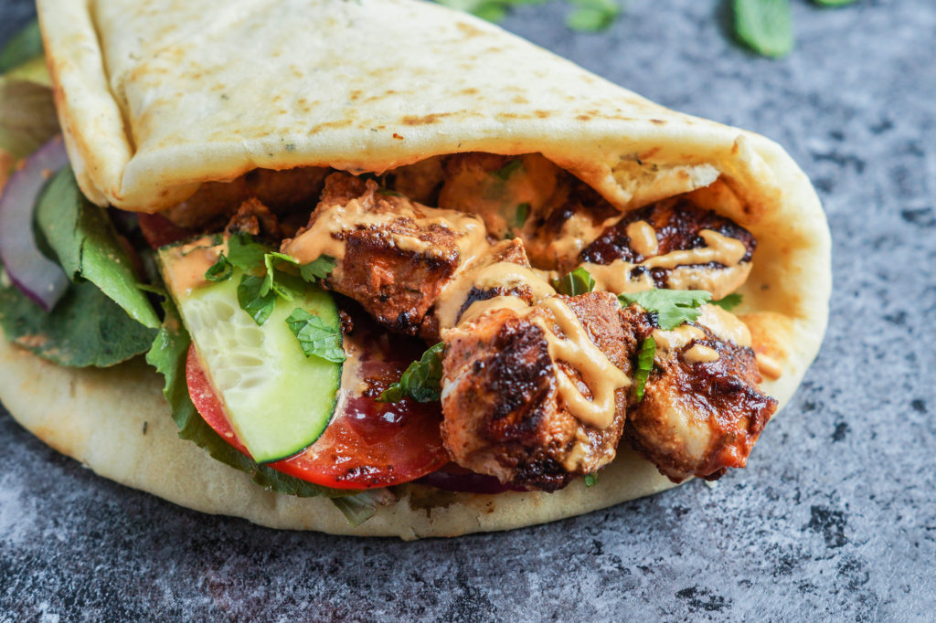 Grilled Chicken Naan Wrap with Roasted Red Pepper Tahini Sauce (1 of 1)