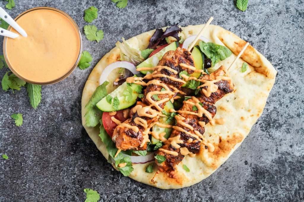 Grilled Chicken Naan Wrap with Roasted Red Pepper Tahini Sauce (2 of 4)