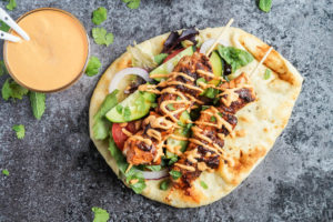 #HelloNaan: Grilled Chicken Naan Wraps with Roasted Red Pepper Tahini Sauce