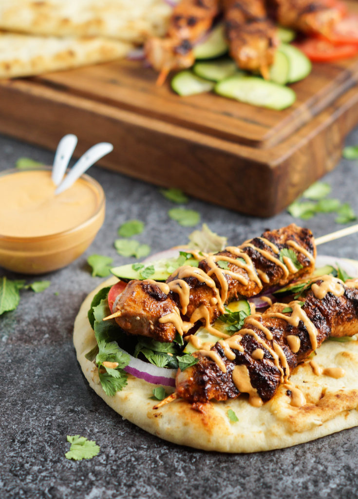 Grilled Chicken Naan Wrap with Roasted Red Pepper Tahini Sauce (3 of 4)