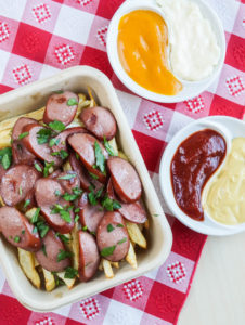 #SundaySupper Hamburgers & Hotdogs: Salchipapas (Peruvian Sausages and Potatoes)