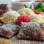 fried ravioli, raspberry chocolate goat cheese