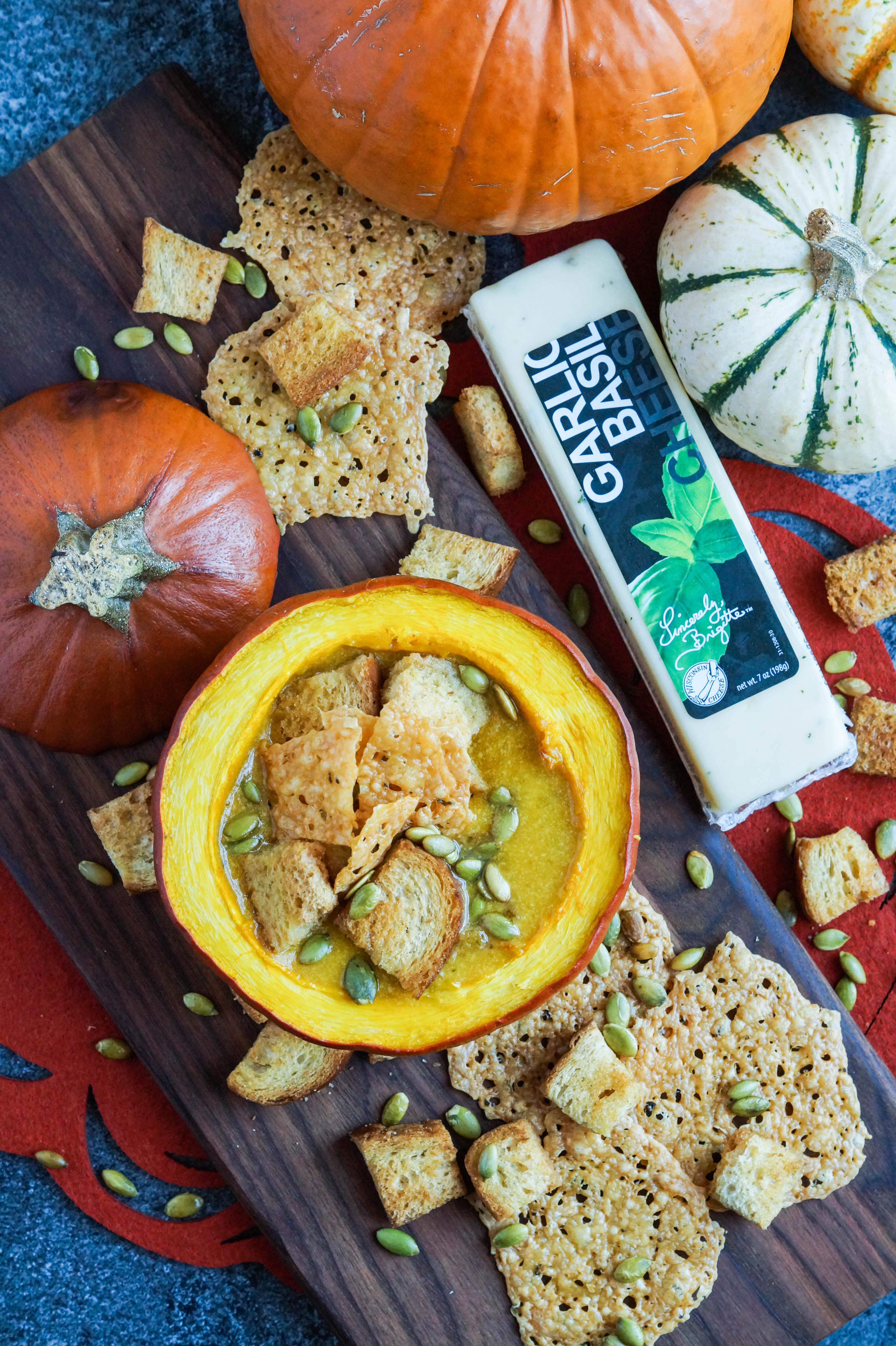 Pumpkin Cheese Soup with Garlic Basil Cheese Crisps