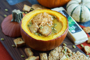 Pumpkin Cheese Soup with Garlic Basil Cheese Crisps