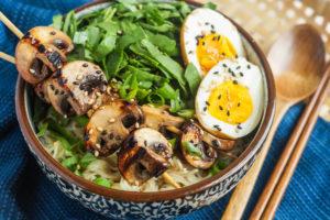 Grilled Mushroom Noodle Bowls