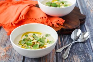 East/West Cookbook Review and Moorish Chilled Almond and Orange Blossom Soup with Apple and Watercress Dressing