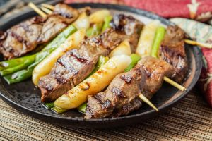 Tteok Sanjuk (Korean Beef Skewers with Green Onions)