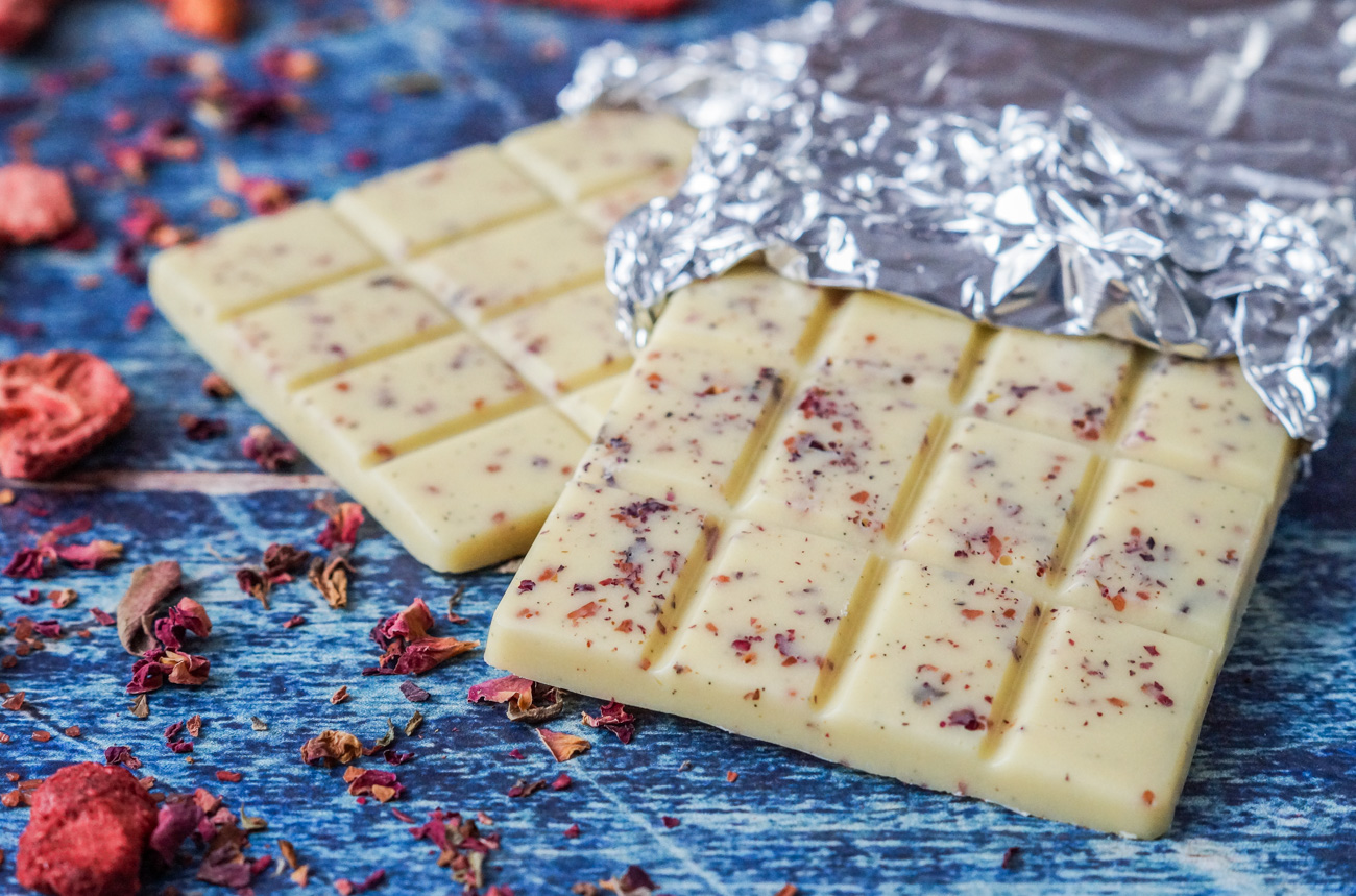 Homemade White Chocolate with Strawberries and Rose Petals
