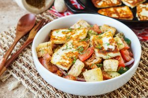 Feasts Cookbook Review and Spicy Halloumi Salad