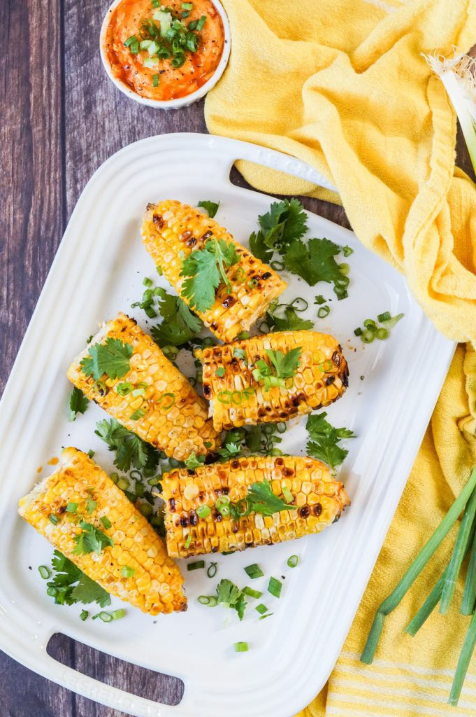 Grilled Corn with Sriracha Butter