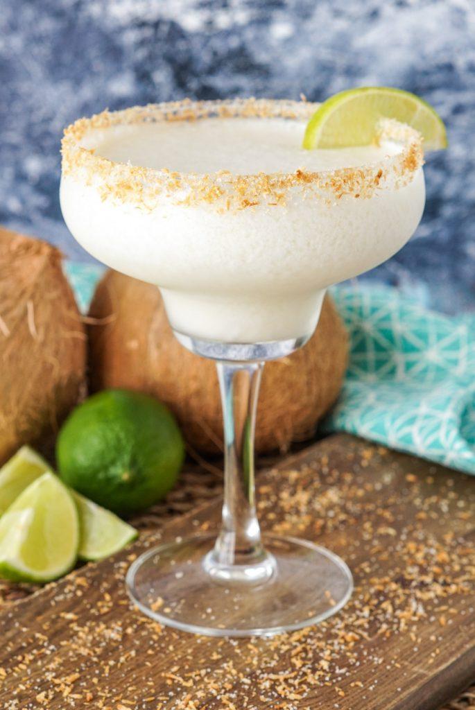 Frozen Coconut Margarita in a glass