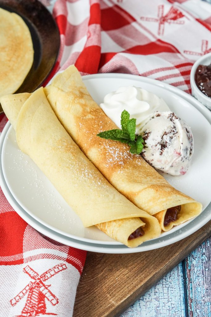 Pandekager (Danish Pancakes) with strawberry jam and ice cream