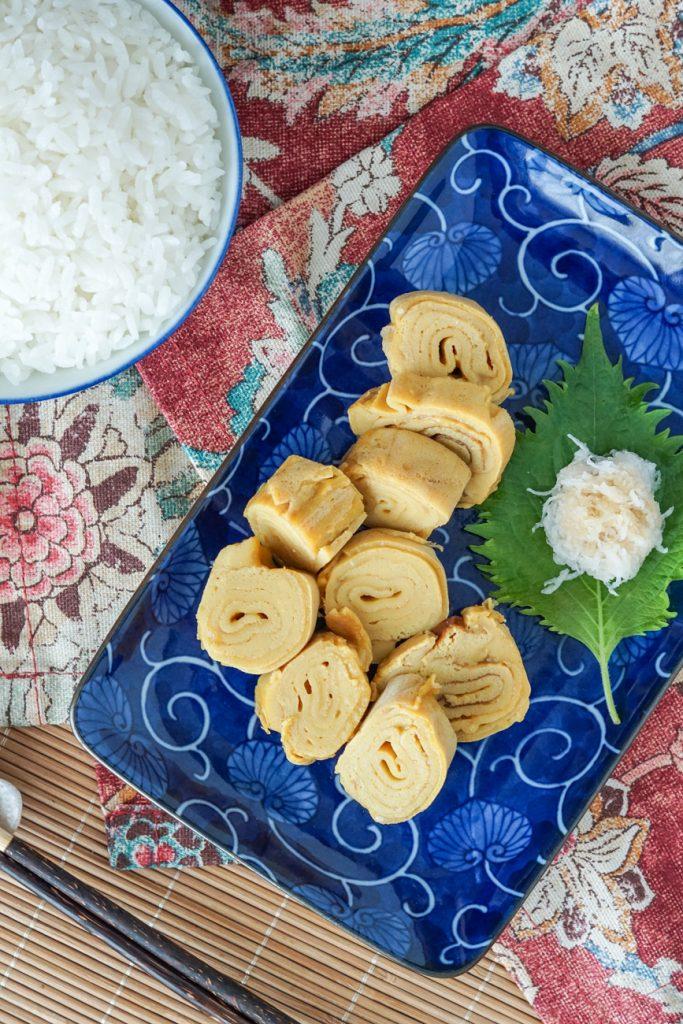 Aerial view of Dashimaki Tamago (Japanese Omelette Rolls)