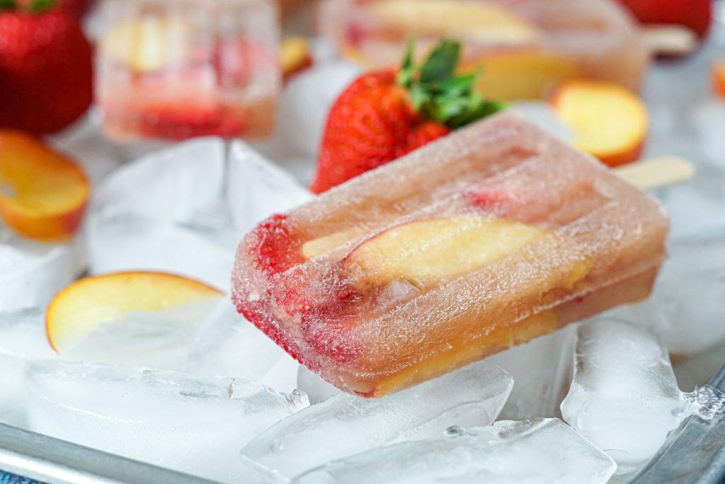 Frosé Sangria Popsicles on ice