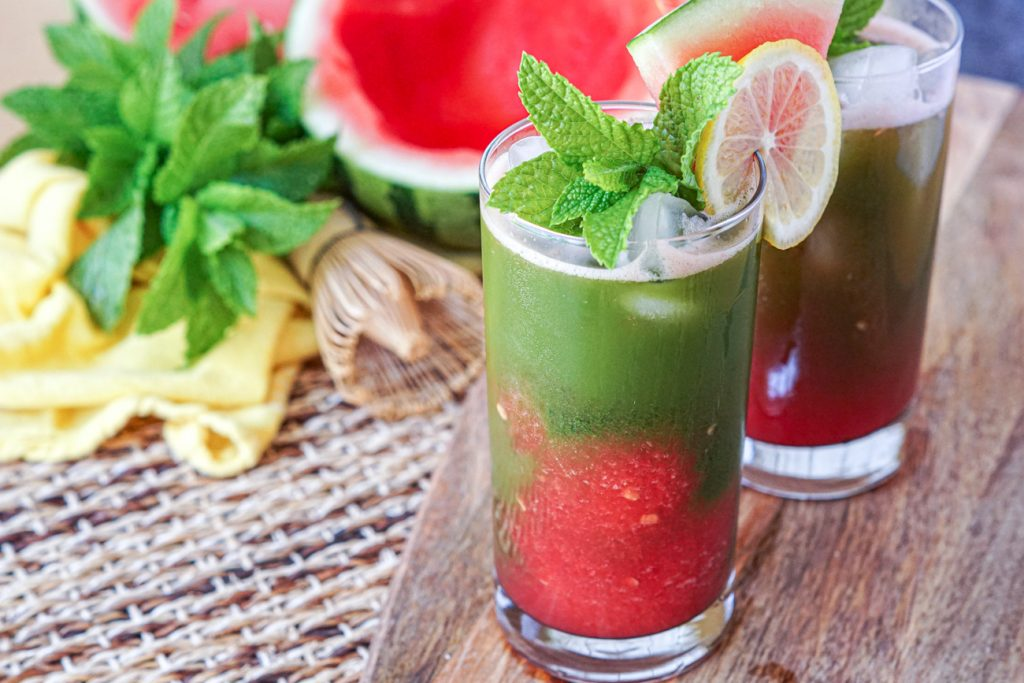Iced Watermelon Matcha in a glass