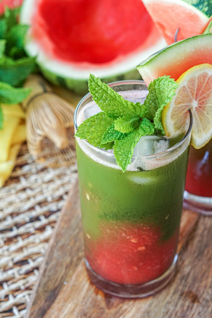 Iced Watermelon Matcha in a glass with mint